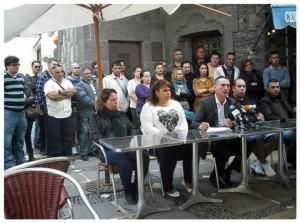 Antonio Rodríguez secretario general de SITCA en rueda de prensa